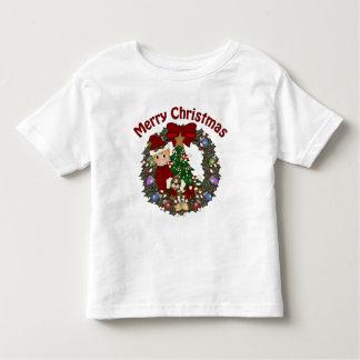 Sweet Little Boy Christmas Wreath Toddler T-Shirt