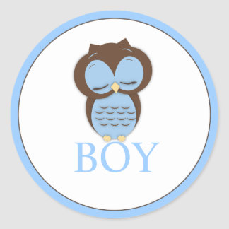 Sweet Little Boy Owl Gender Reveal Team BOY Round Sticker
