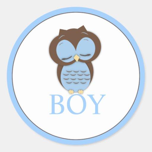 Sweet Little Boy Owl Gender Reveal Team BOY Round Stickers