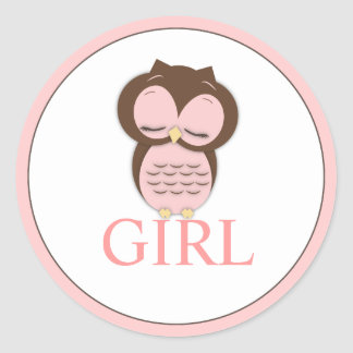 Sweet Little Girl Owl Gender Reveal Team GIRL Round Sticker