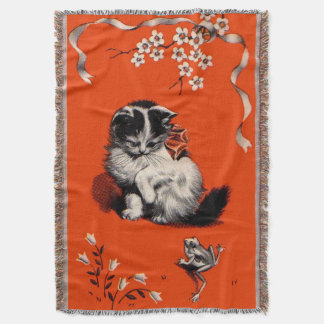 sweet little kitten and frog print throw blanket