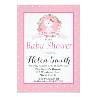 Sweet little Kitty with florals wreath baby shower Card