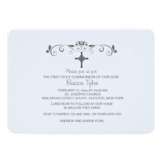 Sweet Little One Blue Religious Invitation