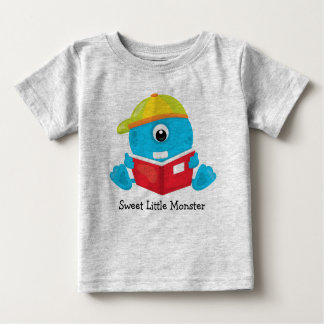 Sweet Little One Eyed Monster Reading a Book Baby T-Shirt