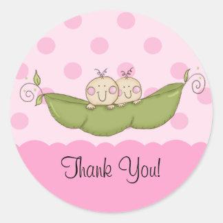 Sweet Little Pea Twins Baby Shower Sticker Pink