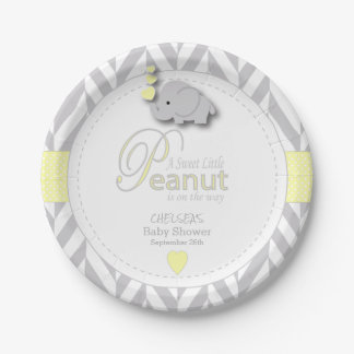 Sweet Little Peanut Elephant Baby Shower Paper Plate