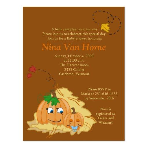 Sweet little Pumpkin Fall Baby Shower Invitation Postcards