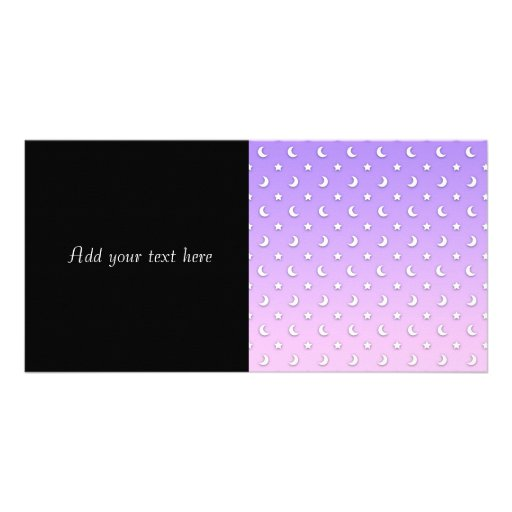 Sweet Little Stars and Moons Pattern Custom Photo Card