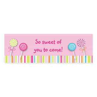 Sweet Lollipop Candy Favor Gift Tags Business Cards