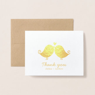 Sweet Love Birds Wedding Photo Thank You Foil Card