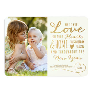 Sweet Love Gold Type Holiday Photo Card 13 Cm X 18 Cm Invitation Card