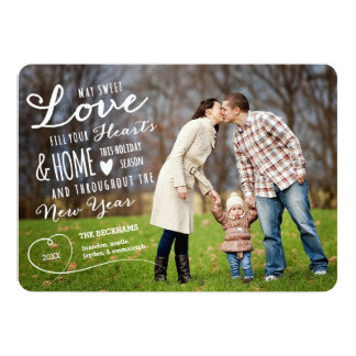 Sweet Love Holiday Photo Card / Black Back 13 Cm X 18 Cm Invitation Card