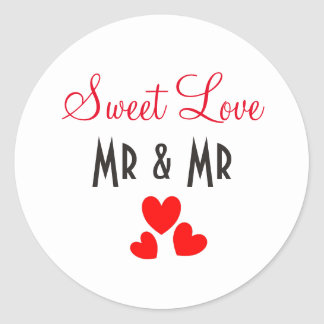 Sweet Love Red Hearts Personalized Round Sticker