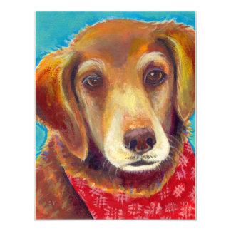 "Sweet loving golden retriever dog painting 4.25"" x 5.5"" invitation card"