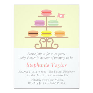 Sweet Macaron, Tea Party Baby Shower, Mom to Be 11 Cm X 14 Cm Invitation Card