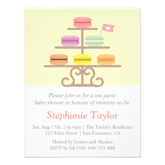 Sweet Macaron Tea Party Baby Shower Mom to Be Personalized Invite