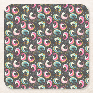Sweet Magical Unicorn Print Square Paper Coaster