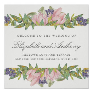 Sweet Magnolia Watercolor Wedding Sign Poster