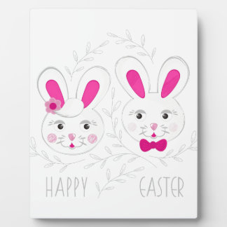 Sweet male female rabbits wish you happy Easter Plaque
