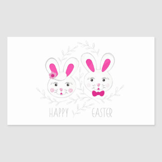 Sweet male female rabbits wish you happy Easter Rectangular Sticker