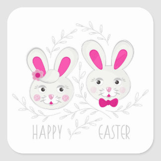 Sweet male female rabbits wish you happy Easter Square Sticker