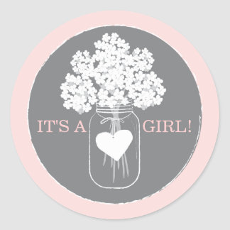 Sweet Mason Jar Baby Shower Favor Sticker
