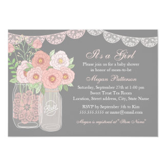 pink gray baby shower invitations & announcements | zazzle.au, Baby shower invitations