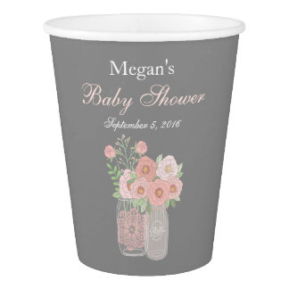 Sweet Mason Jar Pink Gray Baby Shower paper cups