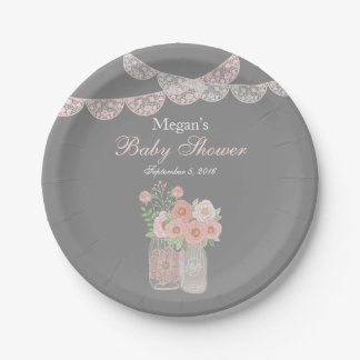 Sweet Mason Jar Pink Gray Baby Shower Paper Plates