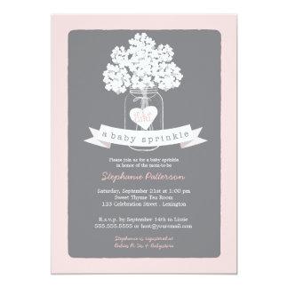Sweet Mason Jar Pink | Gray Baby Sprinkle Card