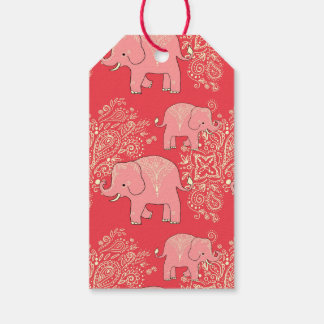 sweet mehndi elephants gift tags, coral and peach gift tags