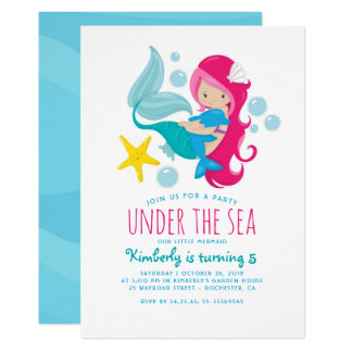 Sweet Mermaid Girl's Birthday Party Card