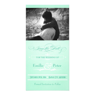 Sweet Mint Green Poster Style Save the Date Photo Card Template