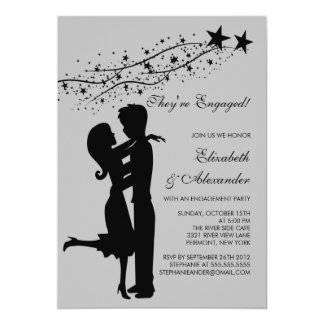 Sweet Modern Couple in Love Engagement Invitations