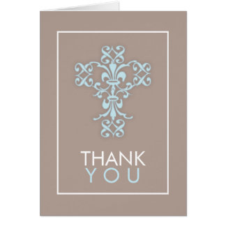 Sweet & Modern Cross in Blue Thank You Card