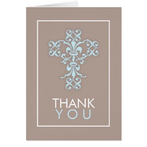 Sweet & Modern Cross in Blue Thank You Card