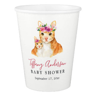 Sweet Mom And Baby Cat Floral Baby Shower Cup