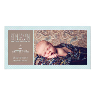 Sweet Moment Photo Baby Boy Birth Announcement Custom Photo Card