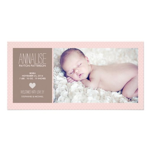 Sweet Moment Photo Baby Girl Birth Announcement Picture Card