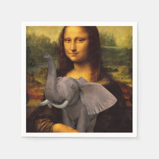 Sweet Mona Lisa Loves Elephant Disposable Napkins