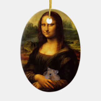 Sweet Mona Lisa Loves Hamsters Ceramic Oval Decoration