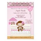 Sweet MONKEY Baby Shower Invitation SM-K pink