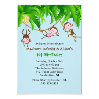 Sweet Monkeys Triplets Birthday Invitation
