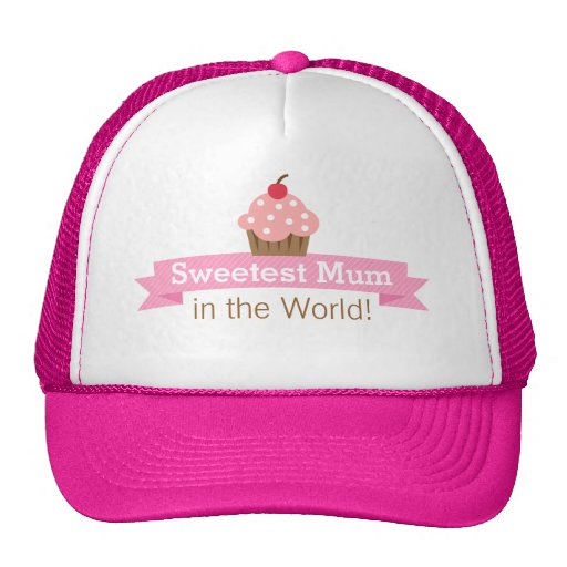Sweet mother, Pink Cupcake, Mothers Day Mesh Hats
