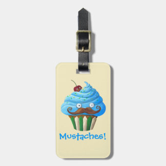 Sweet Mustached Cupcake Luggage Tag