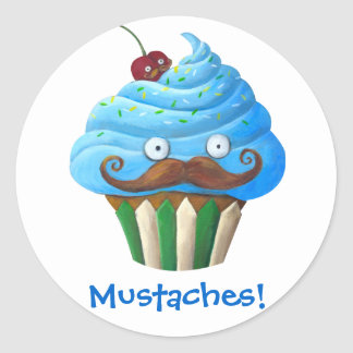 Sweet Mustached Cupcake Round Sticker