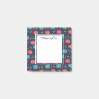 Sweet Navy Floral Flower Personalized Post-it Notes