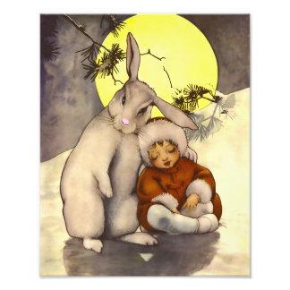 Sweet Nursey Scene Sleepy Child with Bunny Print Photo Art