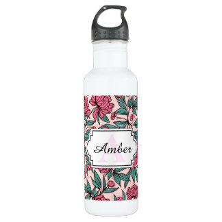 Sweet orange pink floral hand drawn illustration 710 ml water bottle