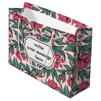 Sweet orange pink floral hand drawn illustration large gift bag